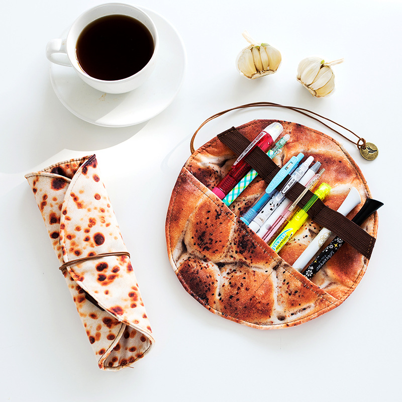 Cute Pancake Pencil Roll Creative Gift Kawaii Pen Case Pencil Wrap Funny Pens Pouch Holder Stationery Storage Organizer