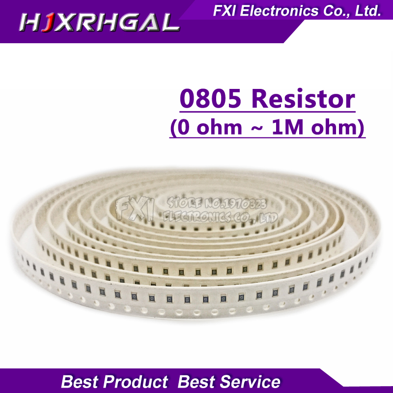 100Pcs 0805 SMD 1/4W 0R ~ 10M chip resistor  0 10R 100R 220R 330R 470R 1K 4.7K 10K 47K 100K 0 10 100 330 470 ohm 0805 0603 0402 1206 smd capacitor resistor assortment combo kit sample book lcr clip tweezer
