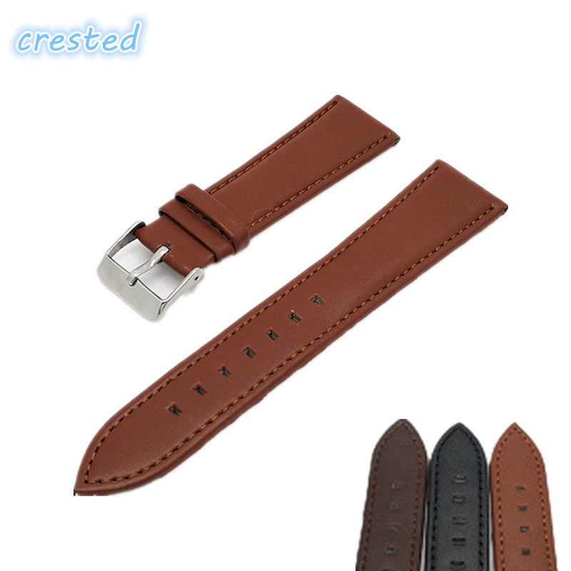 CRESTED Genuine leather watch band Waterproof soft strap with metal buckle cow leather strap 18mm 20mm 22mm 24mm eache 20mm 22mm 24mm 26mm genuine leather watch band crazy horse leather strap for p watch hand made with black buckles