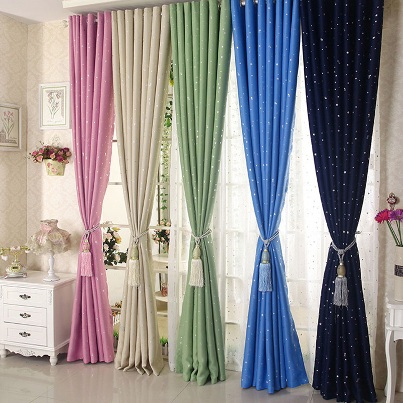 US $8.52 26% OFF|Charming Stars Blackout Curtains Lovely Candy Color  Decorated For The Children\'s Bedroom Living Room verduisterende gordi OB-in  ...