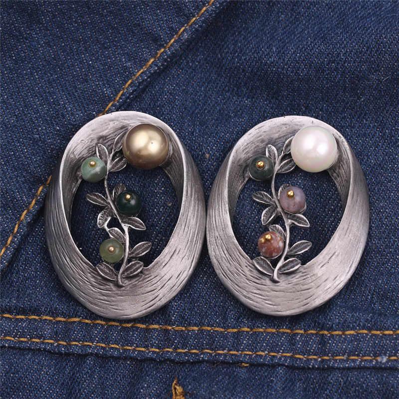 2019 Gaya Vintage Bentuk Oval Bros Mutiara Imitasi Batu Ranting Bros & Pin Natal Hadiah untuk Wanita Perhiasan Wanita