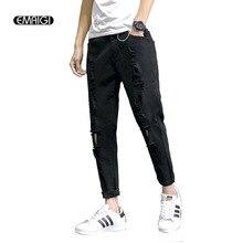 Hole Iron Ring Cotton Jeans Men Fashion Casual Loose Denim Harem Pant Street Hip-hop Male Black Jean Trousers