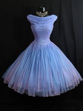 Real Sample Vintage 1950's 50s Blue Lilac Ruched Chiffon Gown tea length wedding dress bridal gowns Colorful wedding gowns