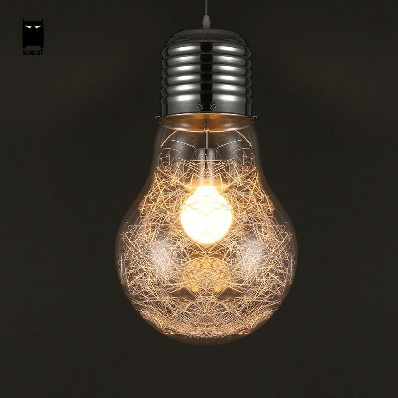 28 см серебро Стекло edison большой кулон лампа светильник Лофт Nordic Книги по искусству Deco подвесной светильник Luminaria Дизайн для дома дети Спальн