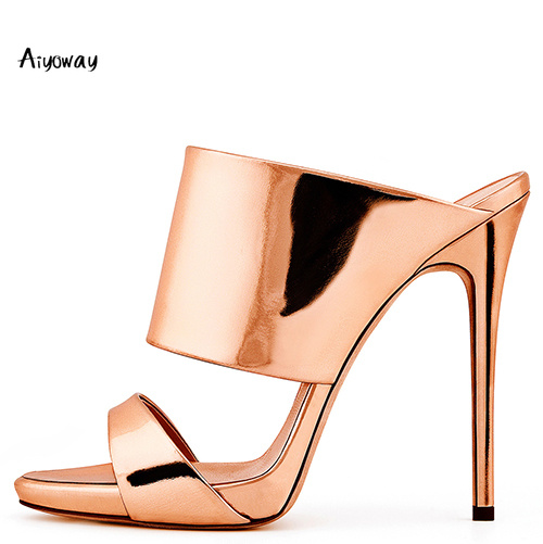 Aiyoway 2019 Spring Women Shoes High Heel Mules Ladies Sandals Slippers Patent Leather Slip On Comfortable Shoes Casual