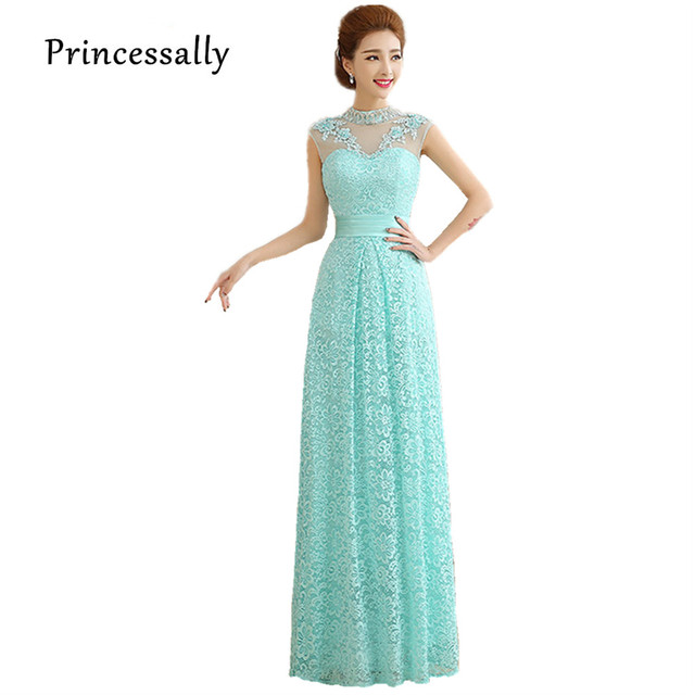 Mint Green Bride Evening Gown Fashion Lace High Neck See Through ...