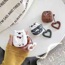 귀여운 3d 곰 만화 실리콘 끈 무선 이어폰 애플 airpods에 대 한 충전 케이스 1 2 블루투스 액세서리 헤드셋 가방