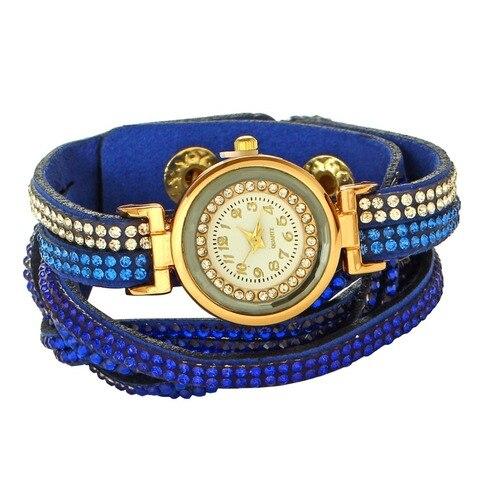 Women's Bracelet Watches Fashion Jewelry Watches Luxury Rhinestone Plated Leather Strap Multilayer Watches Women Karachi