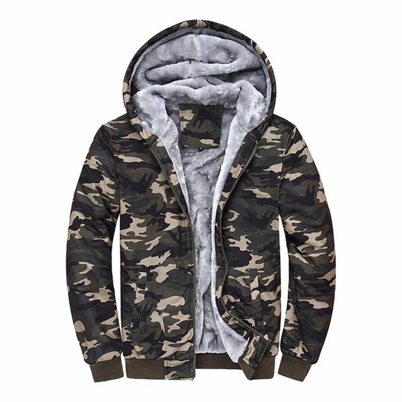 018 Brand Clothing Camouflage Hoodies Tracksuits Velvet Fleece Thick Camo Mens Hoodies And Sweatshirts