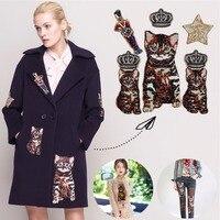 Sew On Thêu Sequins Glitter Vá mèo đính lớn sequins Cha Mẹ Và con mèo vá sao vương miện diy trang trí