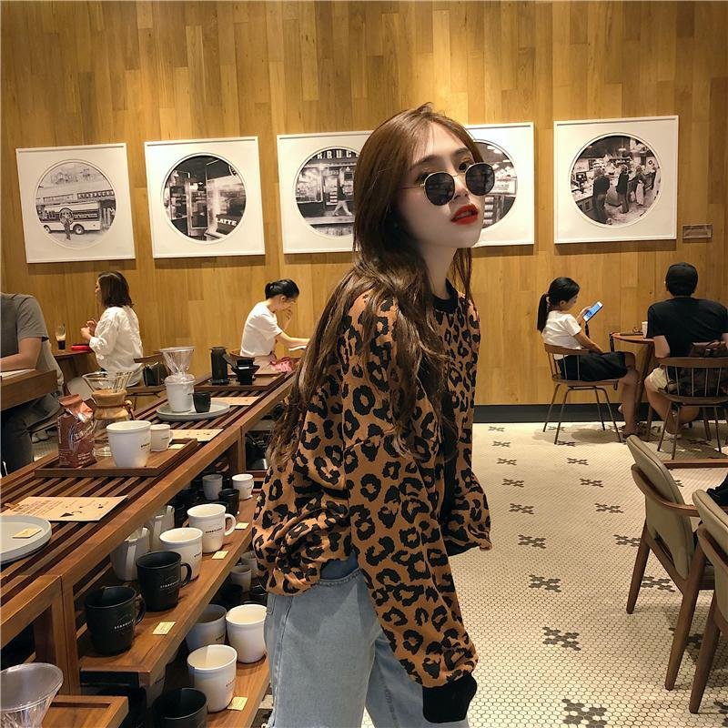 2019 Korean Version Has Tested Hanfeng Casual Early Autumn Panther Print Kuansongweiyi Sweaters Fall Sweaters for Women sweater