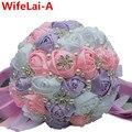 Tamaño de Cristal multic-color Artificiales Ramos de Novia Blanco Rosa Violeta Flores de La Cinta Brillante Diamante de Novia Celebración Ramo W224A