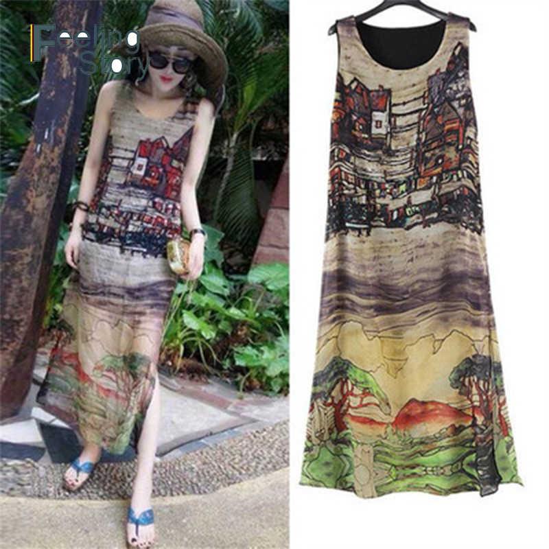 Boho Loose Maxi Summer Dress Plus Size Dresses For Women 4X 5X 6X Print  Sleeveless Chiffon Long Beach Dress Vestidos Robe Femme