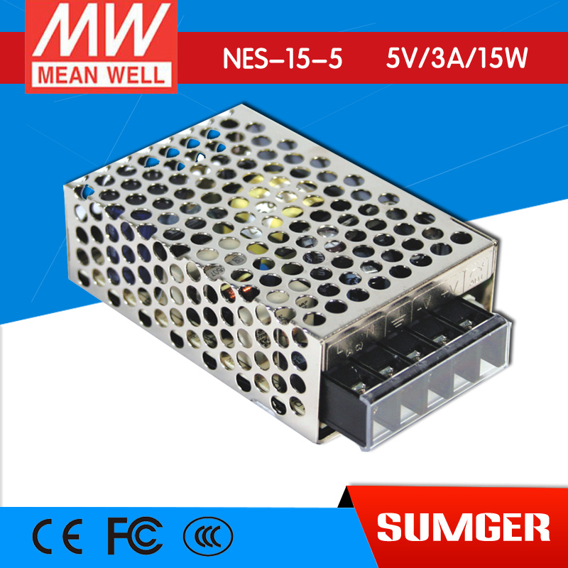 ФОТО [Freeshiping 6Pcs] MEAN WELL original NES-15-5 5V 3A meanwell NES-15 5V 15W Single Output Switching Power Supply