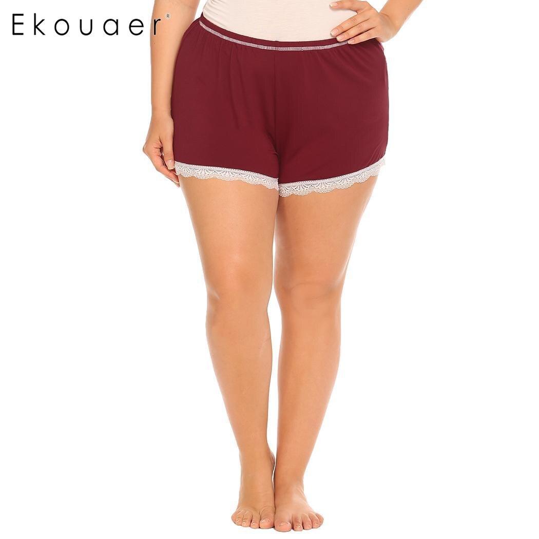 Ekouaer Women Sleep Bottom Pants Nightwear Soft Lace Trim Elastic Waist Plus Female Pajamas Short Pants Sleepwear Plus Size 1