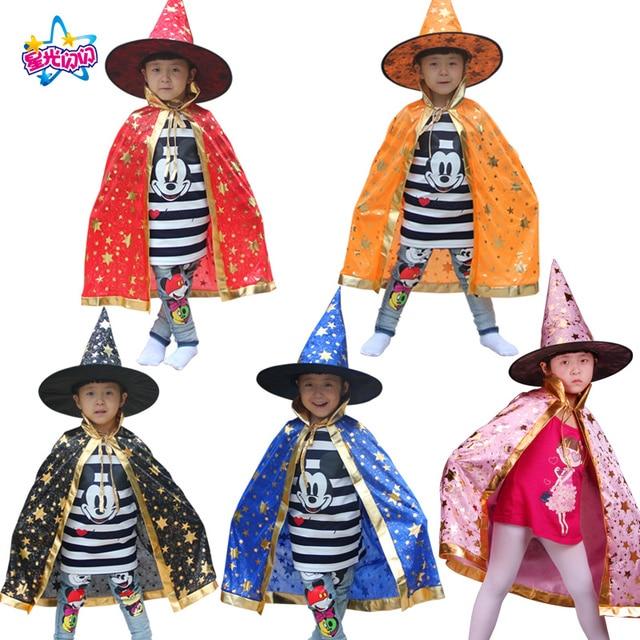 Niño niña bruja Cosplay Costumeswith sombrero para los niños Halloween  Navidad Cap estrellas Año Nuevo Fancy 7cd3eba8f66