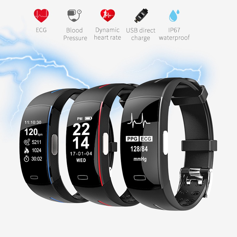Moresave <font><b>P3</b></font> <font><b>Smart</b></font> <font><b>Band</b></font> ECG Monitor Blood Pressure Watch Realtime Heart Rate Sport Fitness Tracker <font><b>Smart</b></font> Bracelet for IOS Android image
