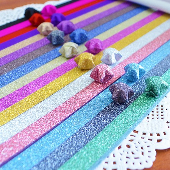 60pcs/lot Folding Kit Lucky Origami Rainbow Color Pure Color Pearl Shine paper Wish Star Paper Strips Paper Crafts Gift
