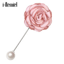 i-Remiel Stick Lapel Long Needle Brooch Scarf Decoration Coat's Pearl Pins Collar Shirt Flower Brooches For Wen Ribbon Fabric(China)