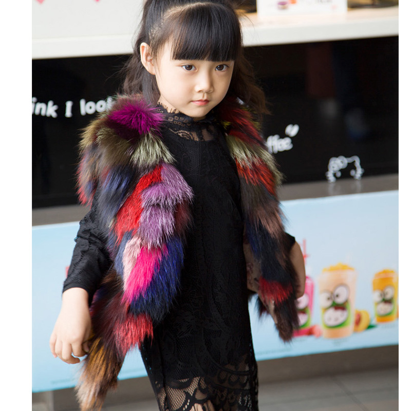 Fashion 2017 New Kids Colourful Fox Fur Vest Children Girls Autumn Winter Warm Thick Fur Vest Baby Multiple Colour Vests MHV05 2017 new children warm mink fur scarf spring winter thick knitted fur scarves girls boys fashion scarf holiday gift hat s 15