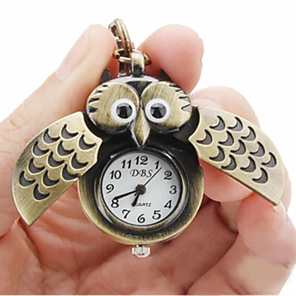 Hibou rétro montre clé boucle montre collier pendentif montre bijoux Quartz montre 2018 nouveau luxe hommes montres Reloj hombre Horloges