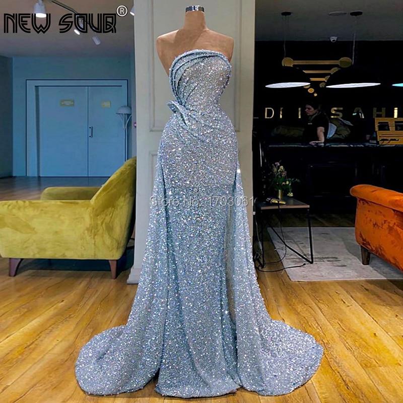 Middle East Glitter Sliver   Evening     Dresses   Celebrity 2019 Vestido Custom Made Long Dubai Arabic Sequins Prom Party   Dress   Gown