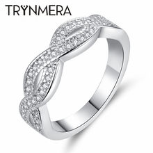 TRYNMERA Pattern Twisted Rope Hemp Flowers Ring Plating Micro Cubic Zirconia Tail Ring Fashion Women's Jewelry(China)