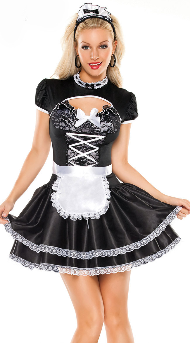 Women French Maid Costume Servant Cosplay Fancy Dress