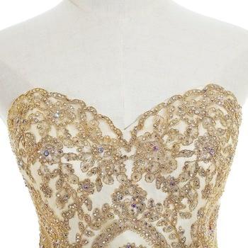 Elegant 2019 Champagne Tulle Short Prom Dresses Sweetheart Neck Sleeveless Gown vestidos de gala In Stock 4