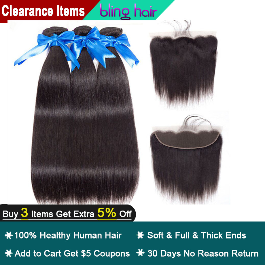 Bling Hair Straight Hair Bundles with Closure 13 4 Lace Frontal Brazilian Hair Weave Bundles 100