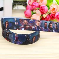 7/8'' Free shipping avengers printed grosgrain ribbon hair bow headwear party decoration wholesale OEM 22mm H4712