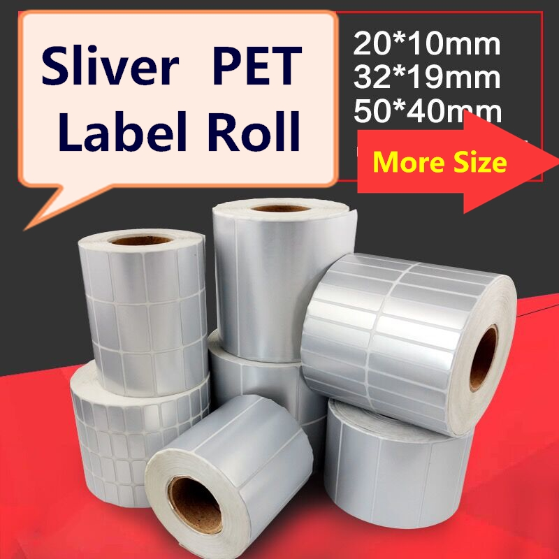 MATTE Sliver Pet Label 20mm ~50mm Width, Difference Size, Silver Matte Polyester For Electronic Appliance Device Stickers