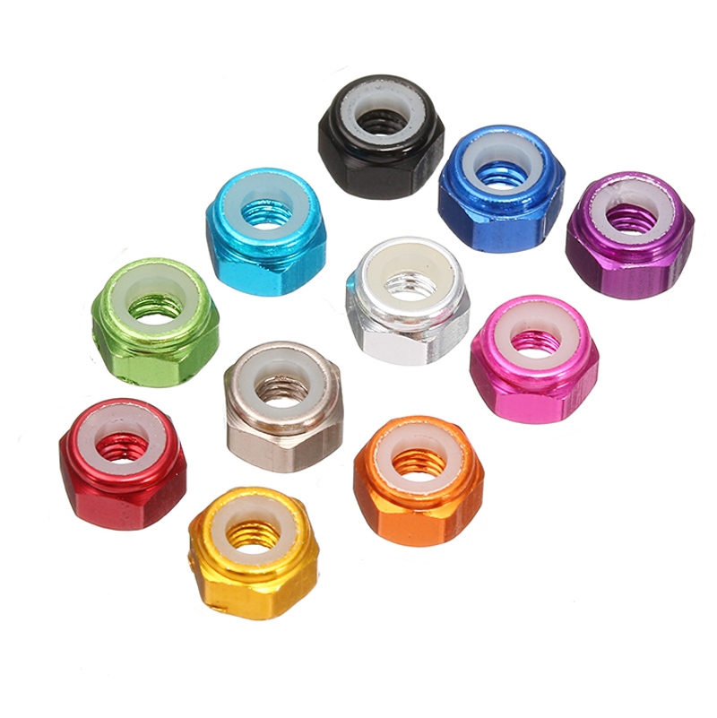 20pcs M2 Self-locking Nylon Nut Aluminum Alloy Multi-color Multi Rotor Parts For FPV Racing RC Drone