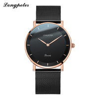 LONGPETER 2018 Mens Watches Stainless Steel Mesh Belt Top Brand Luxury 5MM Ultra Thin Dial Watch