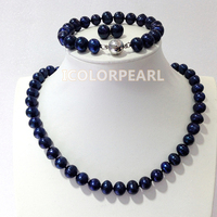 9 10mm Black Potatoround Natural Freshwater Pearl Jewelry Set With 925Sterling Silver Earring Studs Best Gift