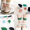 Japanese Summer Women Transparent Socks Harajuku Stretch Band Aid OK Crystal Sock Japan Glass Silk Art Socks Calcetines Mujer