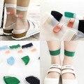 Japonês summer mulheres meias harajuku trecho band-aid ok meia de cristal transparente de vidro japão arte seda meias calcetines mujer