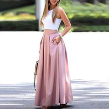 2018 Summer Fashion Women Elegant Casual Two-Piece Suit Set Female Sleeveless Cropped Top & Pleated Maxi Skirt Sets