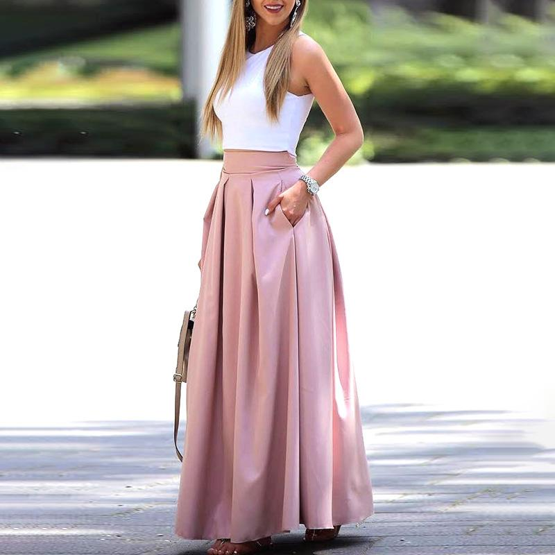 2020 Summer Fashion Women Elegant Casual Two-Piece Suit Set Female Sleeveless Cropped Top & Pleated Maxi Skirt Sets