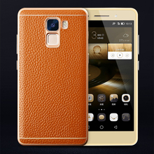 Luxury Genuine Leather Aluminum Frame Case for Huawei Honor 7 5.2″ Fashion Removable Metal Back Phone Cover Shell Quality