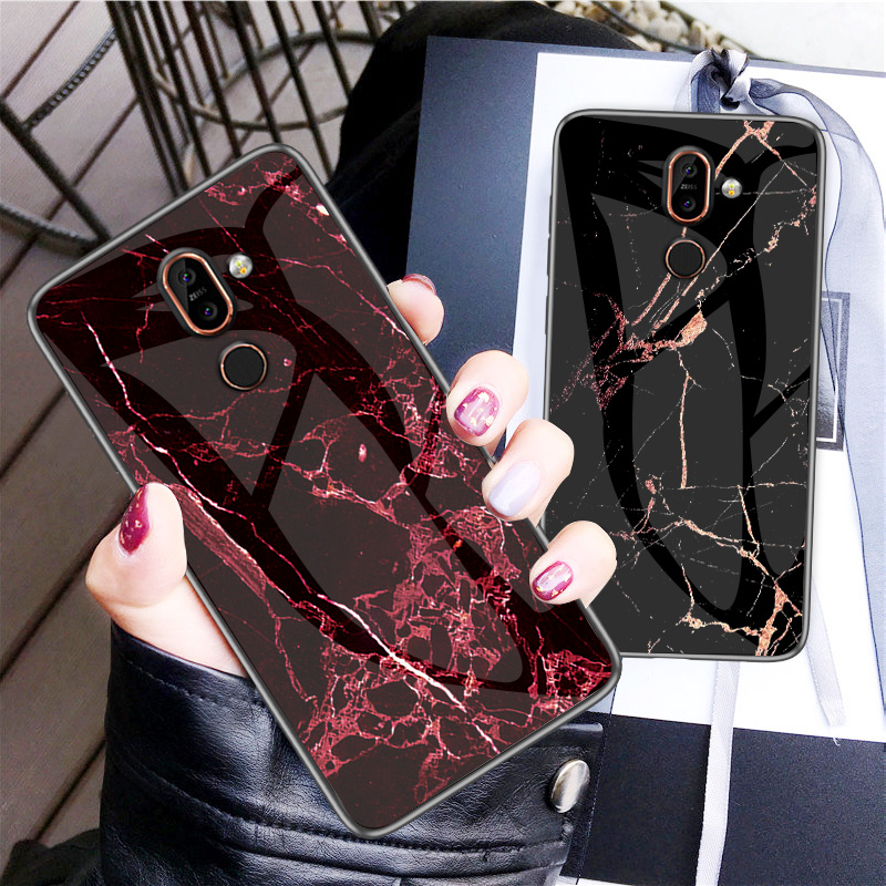 Luxury Marble Tempered Glass Phone Case For Nokia X7 X71 X6 Hard Case For Nokia 7.1 7 1 4.2 3.1 Plus Cover Coque Silicone Capa-in Fitted Cases from Cellphones & Telecommunications