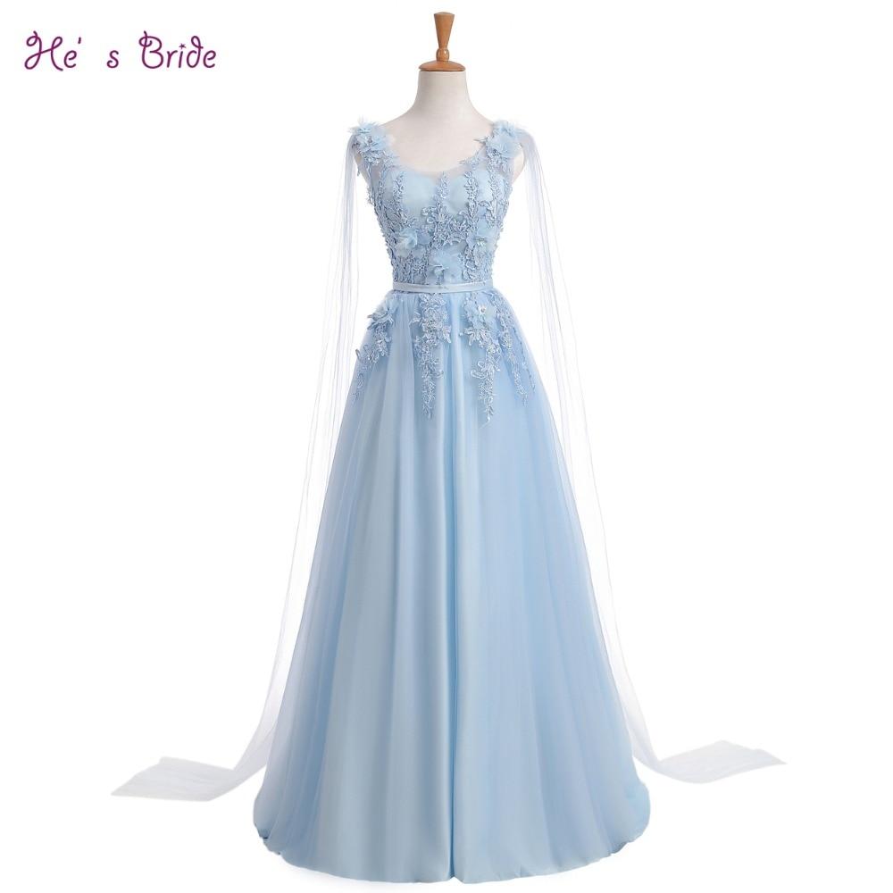 2017 sommer neue mode lange abendkleid frische hellblau spitze blume  bodenlangen lange prom party kleider robe de soiree benutzerdefinierte