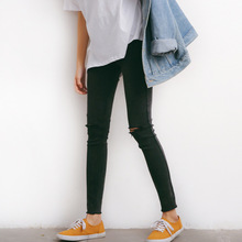 spring and summer pants women wash denim jeans pencil pants girls two pockets black an gray