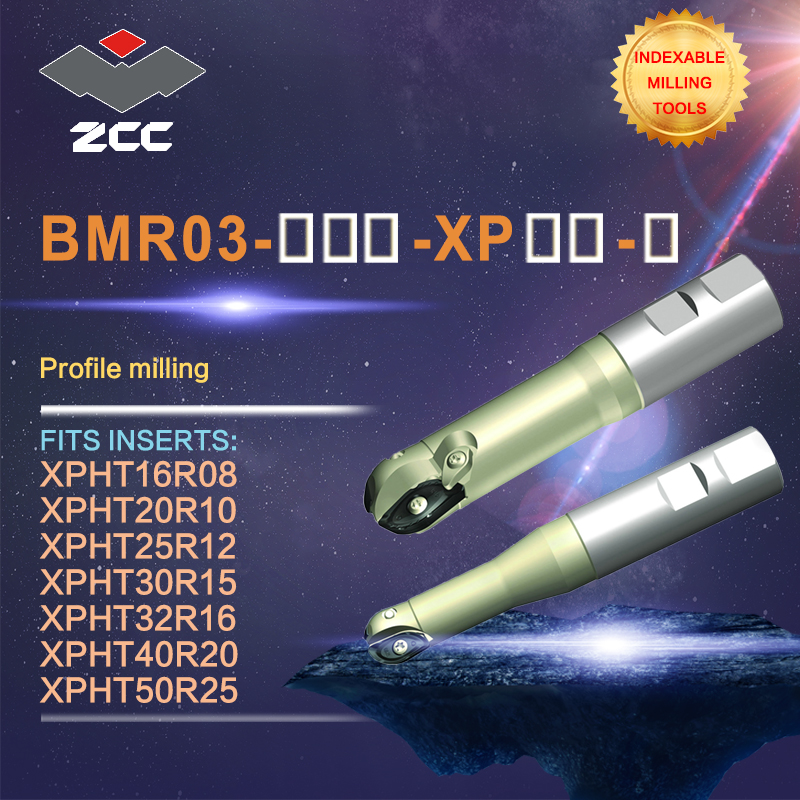ZCC.CT original profile milling cutters BMR03 XP high performance CNC lathe tools ball nose indexable milling tools weldon shank
