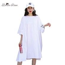 BelineRosa 特大プラスサイズの女性服 2018 カジュアル Tシャツドレス女性ホワイトルースファッションドレス 5XL 6XL TYFS0002