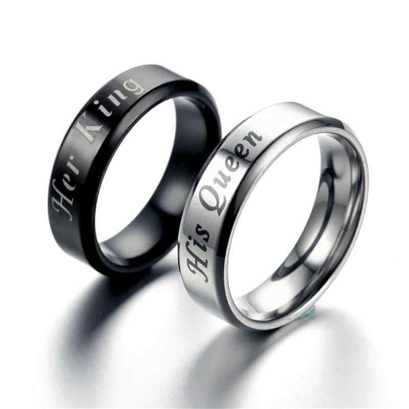 Jiayiqi King Queen แหวนสแตนเลสคู่แหวนคู่รักสำหรับชายหญิงโรแมนติกงานแต่งงานแฟชั่นเครื่องประดับ