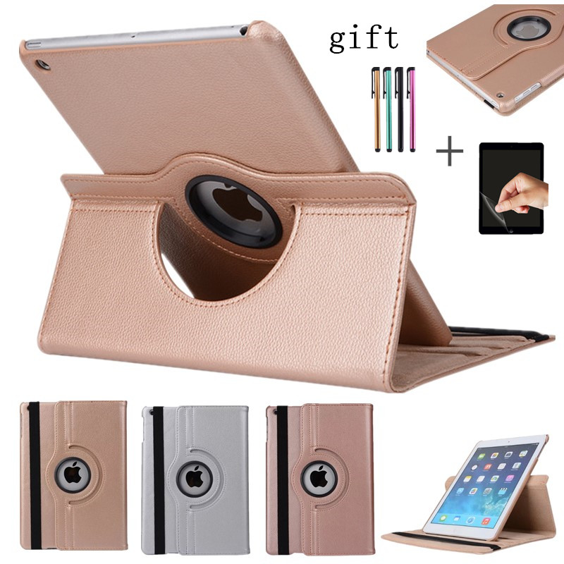 360 Degree Rotating Case For New IPad 9.7 2017 2018 9.7inch Ipad Smart Cover For Ipad 6/5 Air Air2 Tablet Stand Shell+Stylusfilm