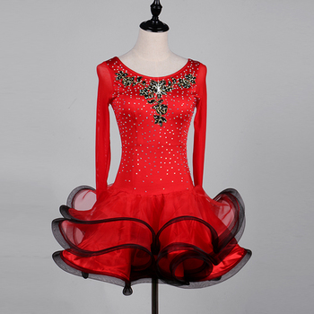 2018 Red salsa latin dance wear tango samba latin dance dress women competition dress latin dance costume girls children women