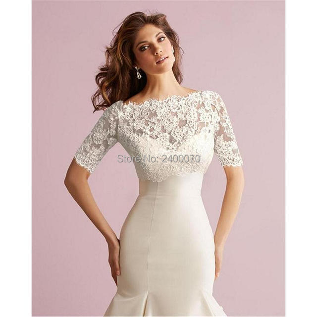 c662fe29987be 2017 Lace Bolero Jacket Off Shoulder Short Sleeves Covered Button Jackets  Bridal Shawl Bride Wraps Cheap Bridal Accessory