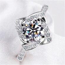 Бриллиантом серебряных штампованные bague anillos обручальные cz любовь femme кольца кольцо